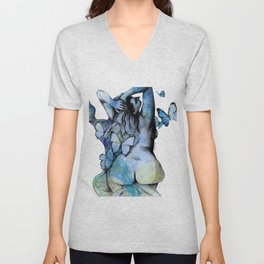 Sugar Coated Sour (nude curvy pin up with butterflies) Unisex V-Neck