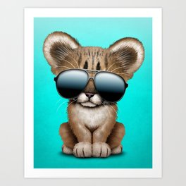 Cute Baby Cougar Wearing Sunglasses Art Print