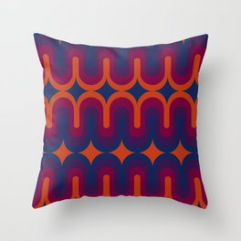 70s Geometric Design - Sunset Swoops Throw Pillow