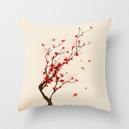 Oriental plum blossom in spring 005 Throw Pillow