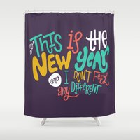new year Shower Curtains featuring New Year by Chelsea Herrick