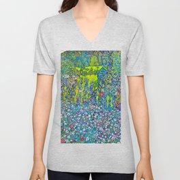 """Gustav Klimt """"Horticultural Landscape with hilltop"""" Unisex V-Neck"""