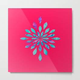 Watercolor Burst With Marble - Pink & Blue Metal Print