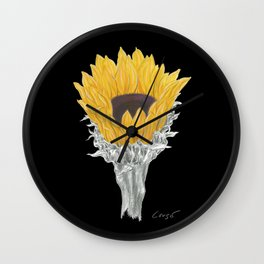 Sunflower 01b Botanical Flower Wall Clock