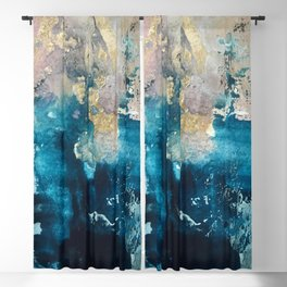Timeless: A gorgeous, abstract mixed media piece in blue, pink, and gold by Alyssa Hamilton Art Blackout Curtain