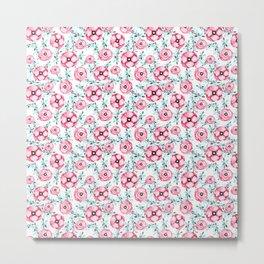 Magenta pink teal aqua watercolor modern floral Metal Print