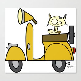 cat on a scooter Canvas Print