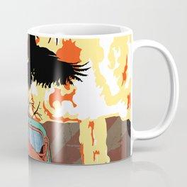 Art print: Atomic explosion, vintage rusted car, raven. Coffee Mug