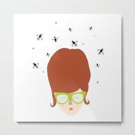 Retro lady with a beehive hairdo Metal Print
