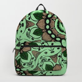 Mandala Green and Brown Backpack