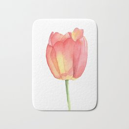 Red and yellow single tulip in watercolor Bath Mat