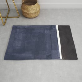 Navy Black Rothko Fun Colorful Mid Century Modern Abstract Painting Shapes Pattern Rug