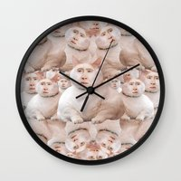 nicolas cage Wall Clocks featuring cage cat collage by Official Nicolas Cage Cats