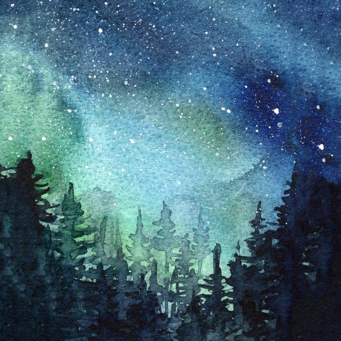 Galaxy Watercolor Aurora Borealis Painting Duvet Cover