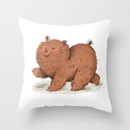 Fat Little Bear Throw Pillow
