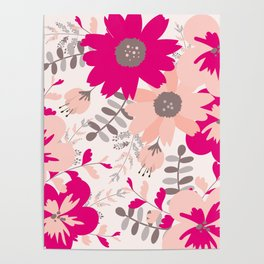 Big Flowers in Hot Pink and Accent Gray Poster