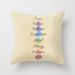 Chakra Energy Affirmation Throw Pillow
