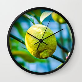 Green Lemons Grow On A Tree Wall Clock