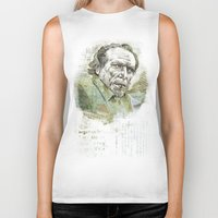 bukowski Biker Tanks featuring Charles Bukowski by Nina Palumbo Illustration