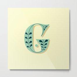 Alphabet Drop Caps Series- G Metal Print