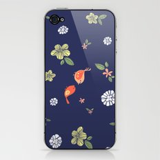Floral with Birds on blue iPhone & iPod Skin