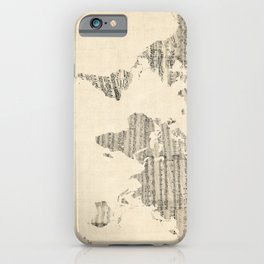 Old Sheet Music World Map iPhone Case