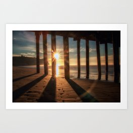 Through the Blinds sun bursts through Avila Pier Avila Beach California Art Print