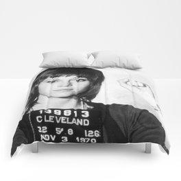 Jane Fonda Mug Shot Vertical Comforters