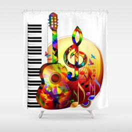 Colorful  music instruments painting, guitar, treble clef, piano, musical notes, flying birds Shower Curtain