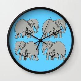 Elephants Pattern in Blue Wall Clock