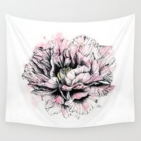 peony Wall Tapestries featuring Peony  by EllaJohnston Art & Illustration