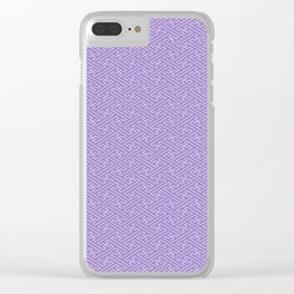 Lilac Sayagata Pattern - Auspicious Sacred Geometry Clear iPhone Case