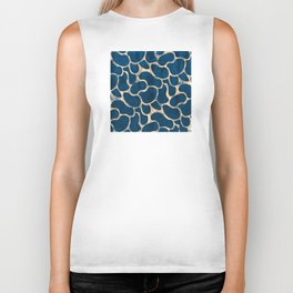 Blue Suede with Rose Gold Beans Pattern Biker Tank