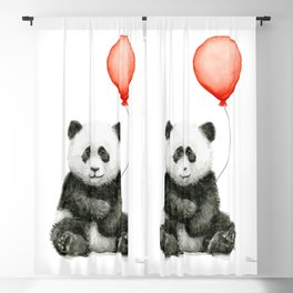 Baby Panda and Red Balloon Blackout Curtain