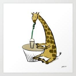 Coffee Giraffe Art Print
