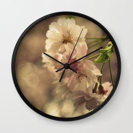 Cherry Blossom Bokeh Wall Clock