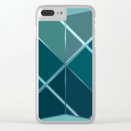 Mosaic tiled glass with black rays Clear iPhone Case