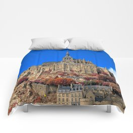 Autumn Shades of Mont Saint-Michel Comforters