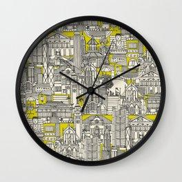 Hong Kong toile de jouy chartreuse Wall Clock