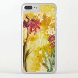 Abstract Red Poppies From Original Encaustic Art Clear iPhone Case