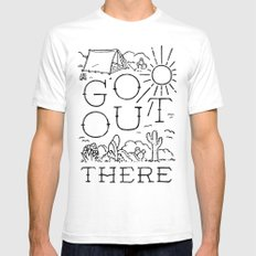 GO OUT THERE (BW) SMALL Mens Fitted Tee White