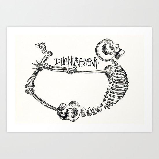 """""""Dhanurasana"""" Skeleton Print Art Print"""