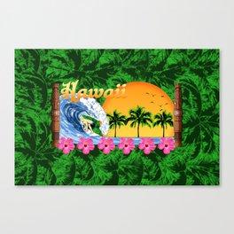 Hawaiian Surfing And Palm Trees Canvas Print