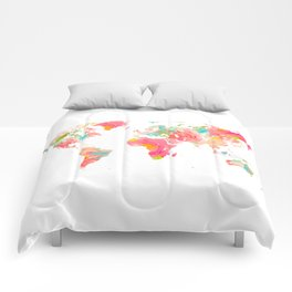 world map pink floral watercolor Comforters