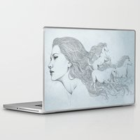 horses Laptop & iPad Skins featuring Horses by Diego Fernandez