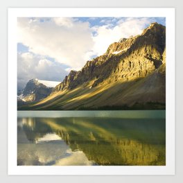 Canada's Magnificent Bow Lake With Majestic Mountain Reflections Art Print