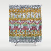 knitting Shower Curtains featuring KNITTING #3 by NADEZDA FAVA