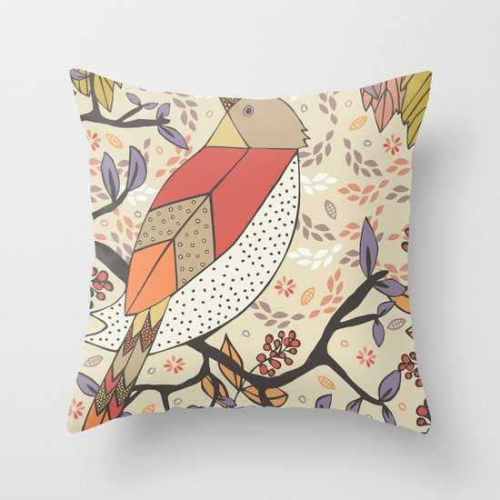 Singing Red Bird Throw Pillow