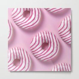 Pink Sugar Donuts Pattern  Metal Print