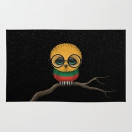 Baby Owl with Glasses and Lithuanian Flag Rug